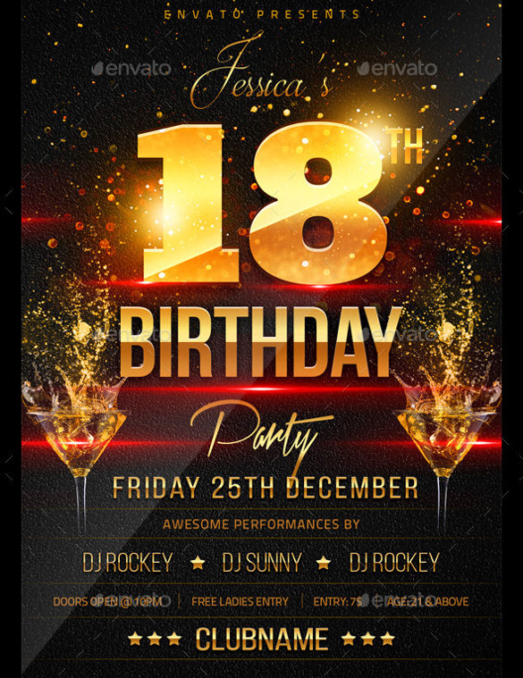 free birthday poster template ; 18th-Birthday-Flyer-Template