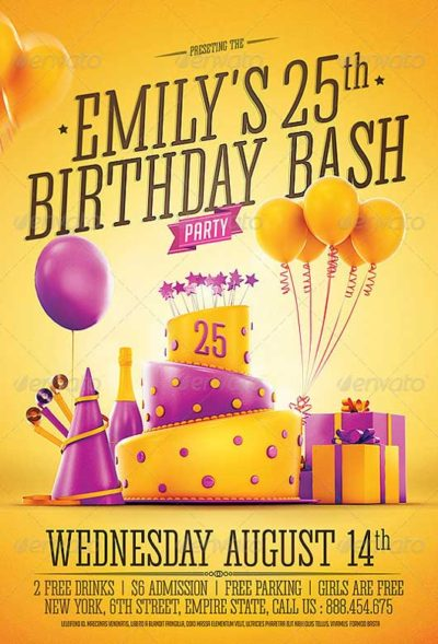 free birthday poster template ; Birthday-Party-Invitation-Flyer-Template-400x589