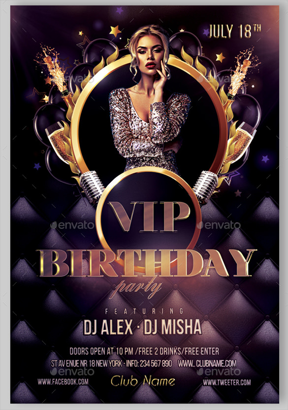 free birthday poster template ; Glamour-Birthday-Flyer-Template