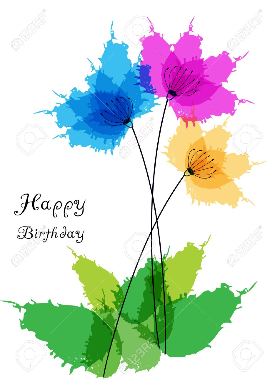 free clipart birthday flowers ; 29255955-happy-birthday-card-with-watercolor-flowers