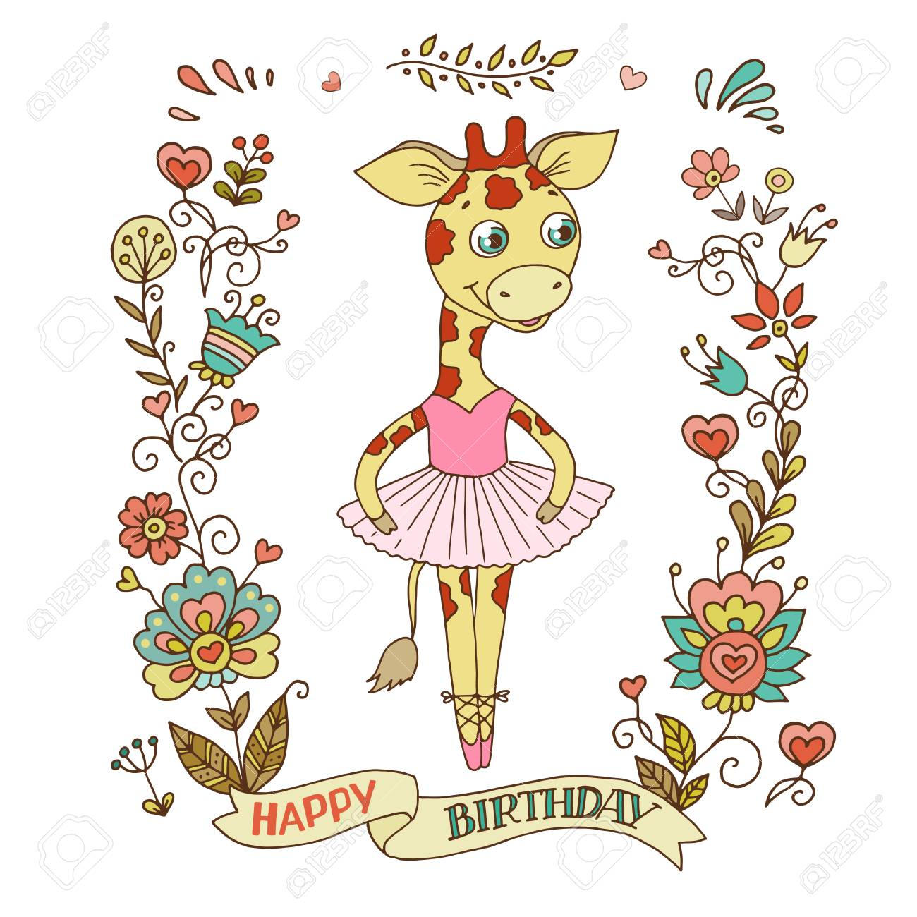 free clipart birthday flowers ; 88271051-cute-giraffe-ballerina-in-a-tutu-with-vintage-frame-of-flowers-the-phrase-on-a-ribbon-happy-birthday