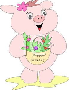 free clipart birthday flowers ; A_Pig_Holding_A_Birthday_Basket_Of_Flowers_Royalty_Free_Clipart_Picture_090726-134941-365042