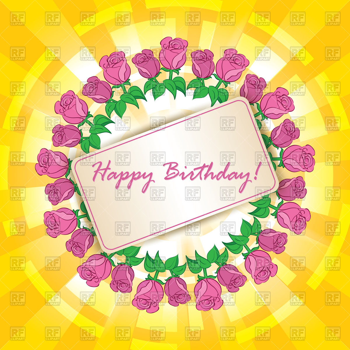 free clipart birthday greetings ; happy-birthday-greeting-card-with-frame-of-roses-Download-Royalty-free-Vector-File-EPS-364221