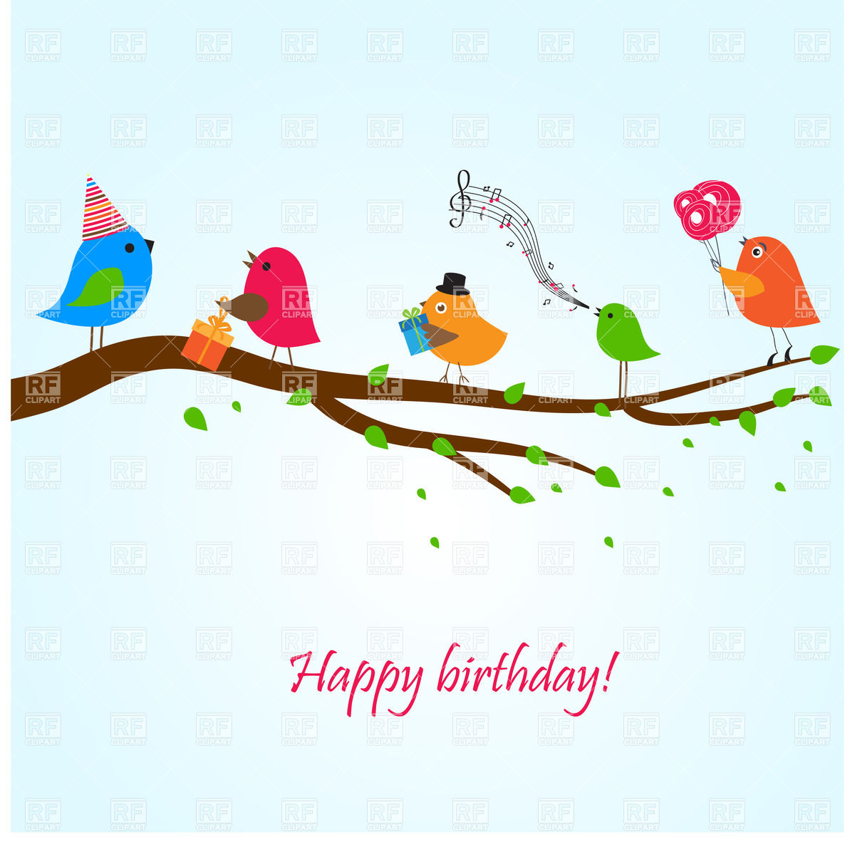 free clipart birthday wishes ; birthday-greeting-card-with-birds-on-the-branch-singing-songs-Download-Royalty-free-Vector-File-EPS-45001