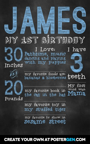 free first birthday chalkboard poster template ; birthday-chalkboard-poster-poster