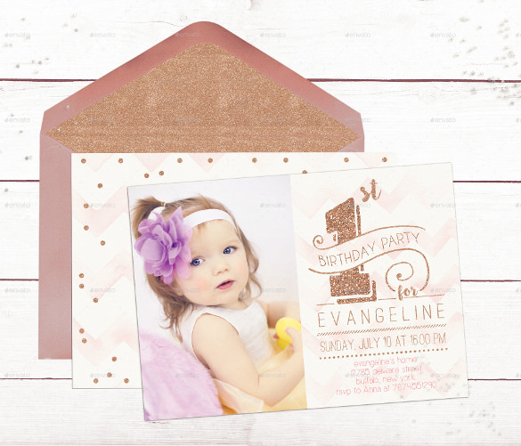 free invitation card design for birthday ; First-Birthday-Invitation-Card-Rose-Gold-Template-PSD