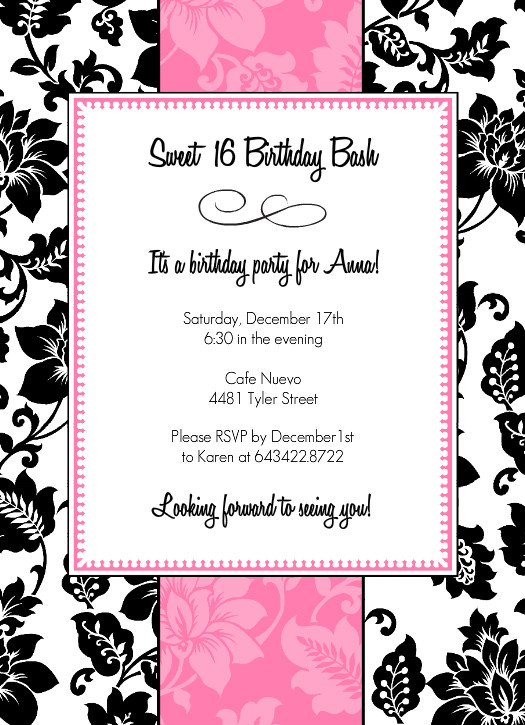 free printable 16th birthday party invitation templates ; sweet-sixteen-invitations-templates-sweet-sixteen-invitation-wording-template-best-template-collection-download