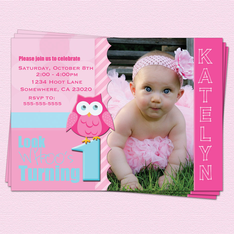 free printable 1st birthday invitation cards ; birthday-free-printable-1st-birthday-invitation-cards-for-girls-featuring-pink-color-scheme-and-owl-picture