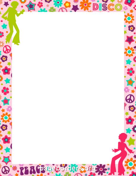 free printable birthday borders and frames ; 70s-border-preview
