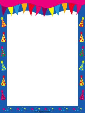 free printable birthday borders and frames ; Pennants_and_Hats_Party_Border
