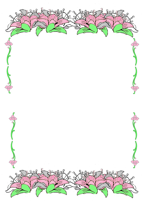 free printable birthday borders and frames ; easter-border-pink-flowers