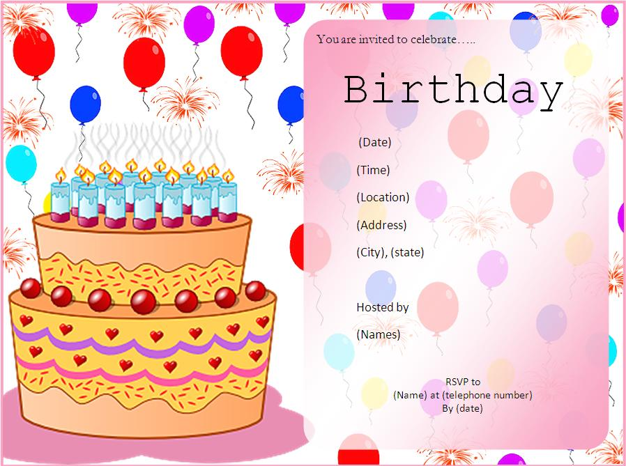 free printable birthday card templates ; free-printable-birthday-invitation-card-template-square-shape-transparant-pink-form-nice-cake-picture-clipart-decoration-ballons-motive-background