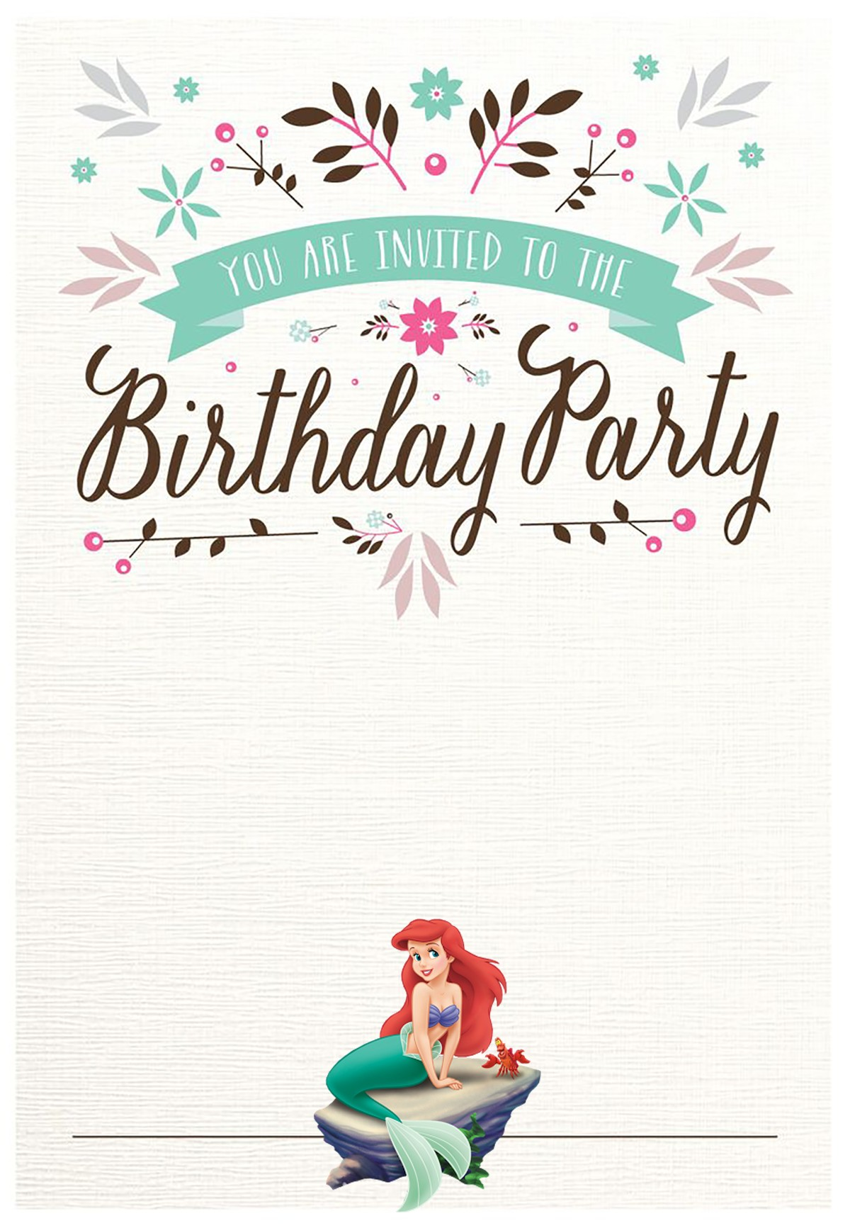 free printable birthday party invitations with photo ; Little-Mermaid-Birthday-Party-Invitation