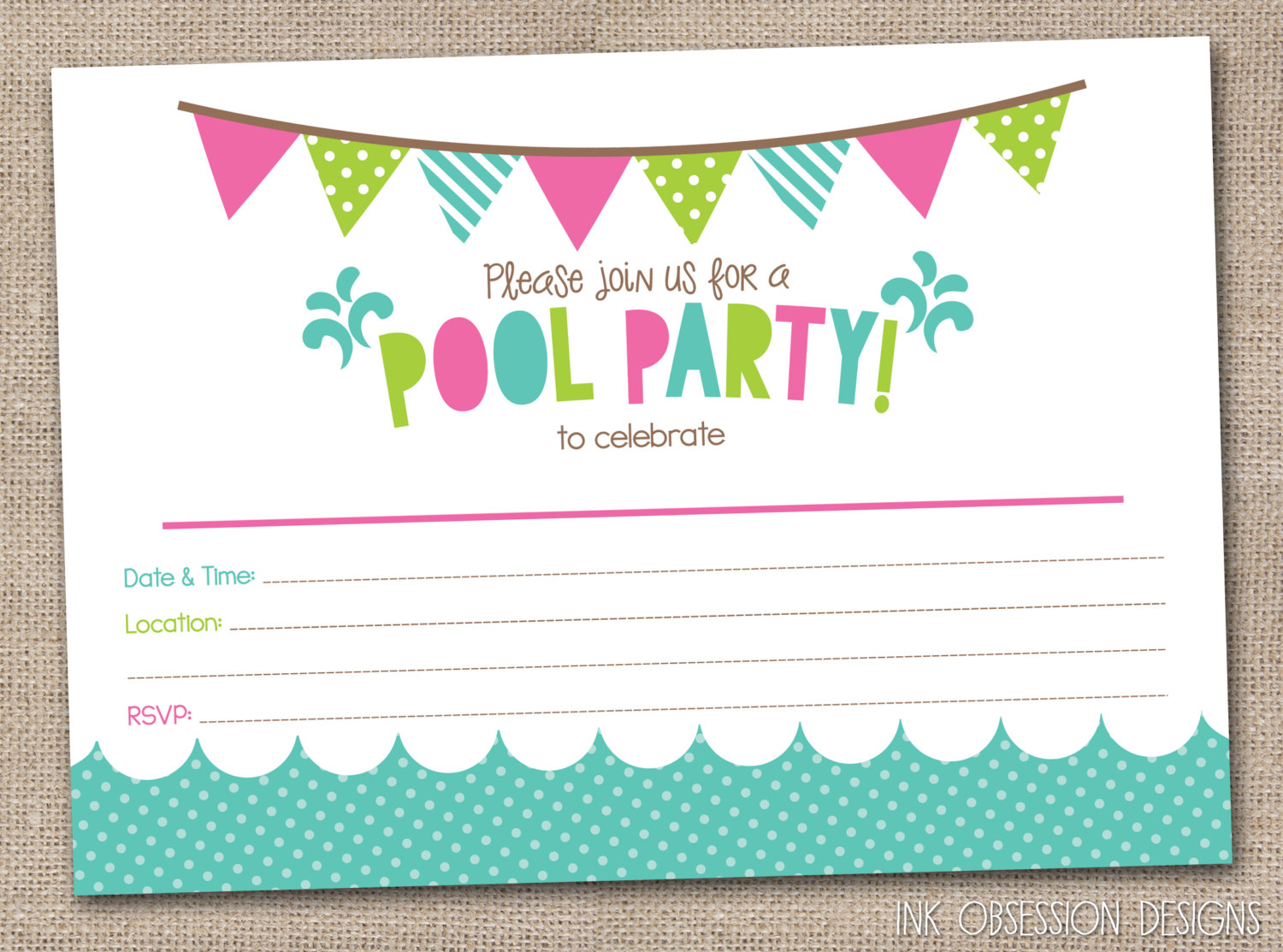 free printable birthday party invitations with photo ; Pool-Party-Invitation-Template