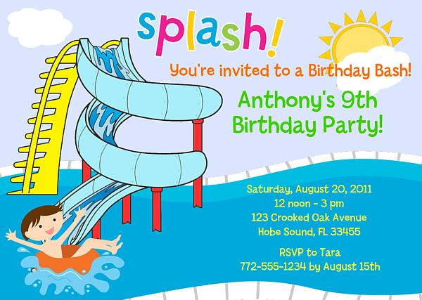 free printable birthday party invitations with photo ; poolpartywaterslideinviteboy