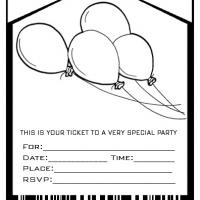 Free Printable Black And White Birthday Invitation Cards Balloons Admit One Party
