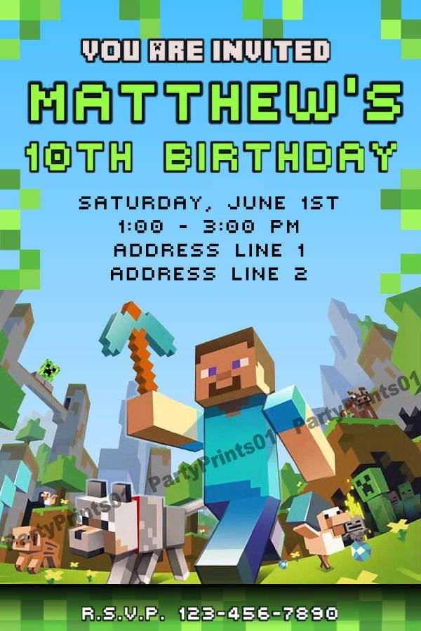 free printable minecraft birthday party invitations templates ; 637d3d77642b66336f424ce284c087e1