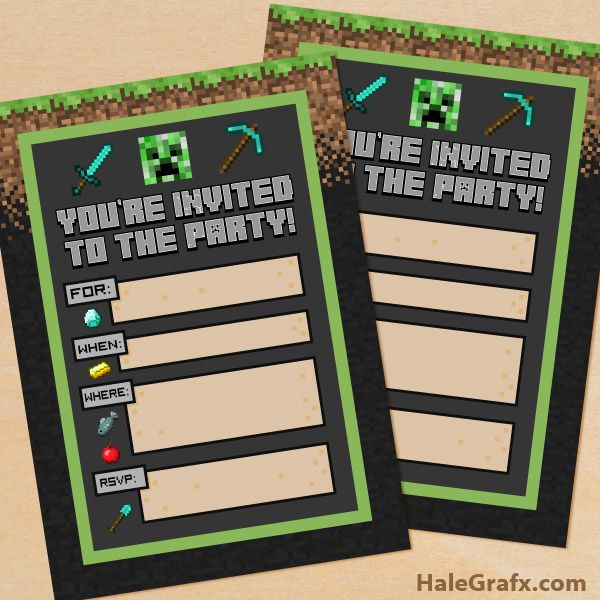 free printable minecraft birthday party invitations templates ; 75117a9927bccf0b38e39dcdced3116f