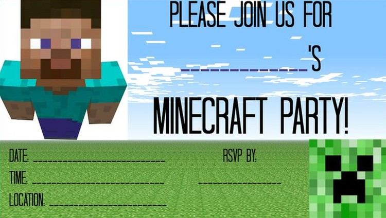 free printable minecraft birthday party invitations templates ; Free-Minecraft-party-invitation-template