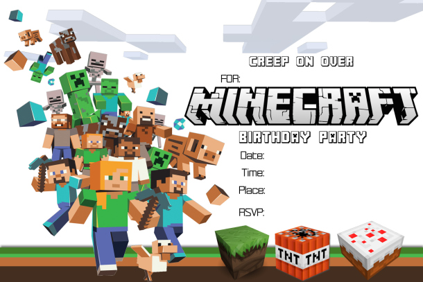 free printable minecraft birthday party invitations templates ; minecraft-party-invitations-template-minecraft-birthday-party-invitations-printable-unusual-neabux-templates