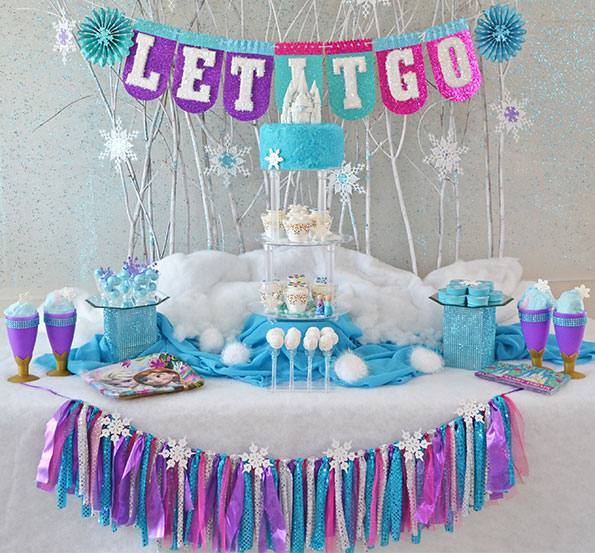 frozen themed birthday banner ; Frozen-party-Let-It-Go-square
