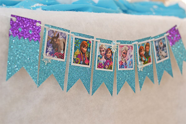 frozen themed birthday banner ; Frozen-party-character-banner