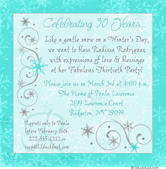 frozen themed birthday invitation wording ; Chic-Winter-30th-birthday-invitation-snowcapped-aqua-gray