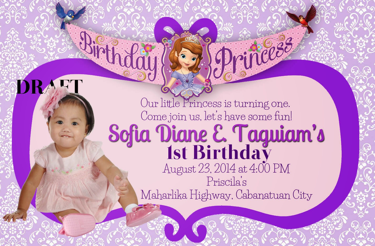 frozen themed birthday invitation wording ; SOFIA+TAGUIAM+