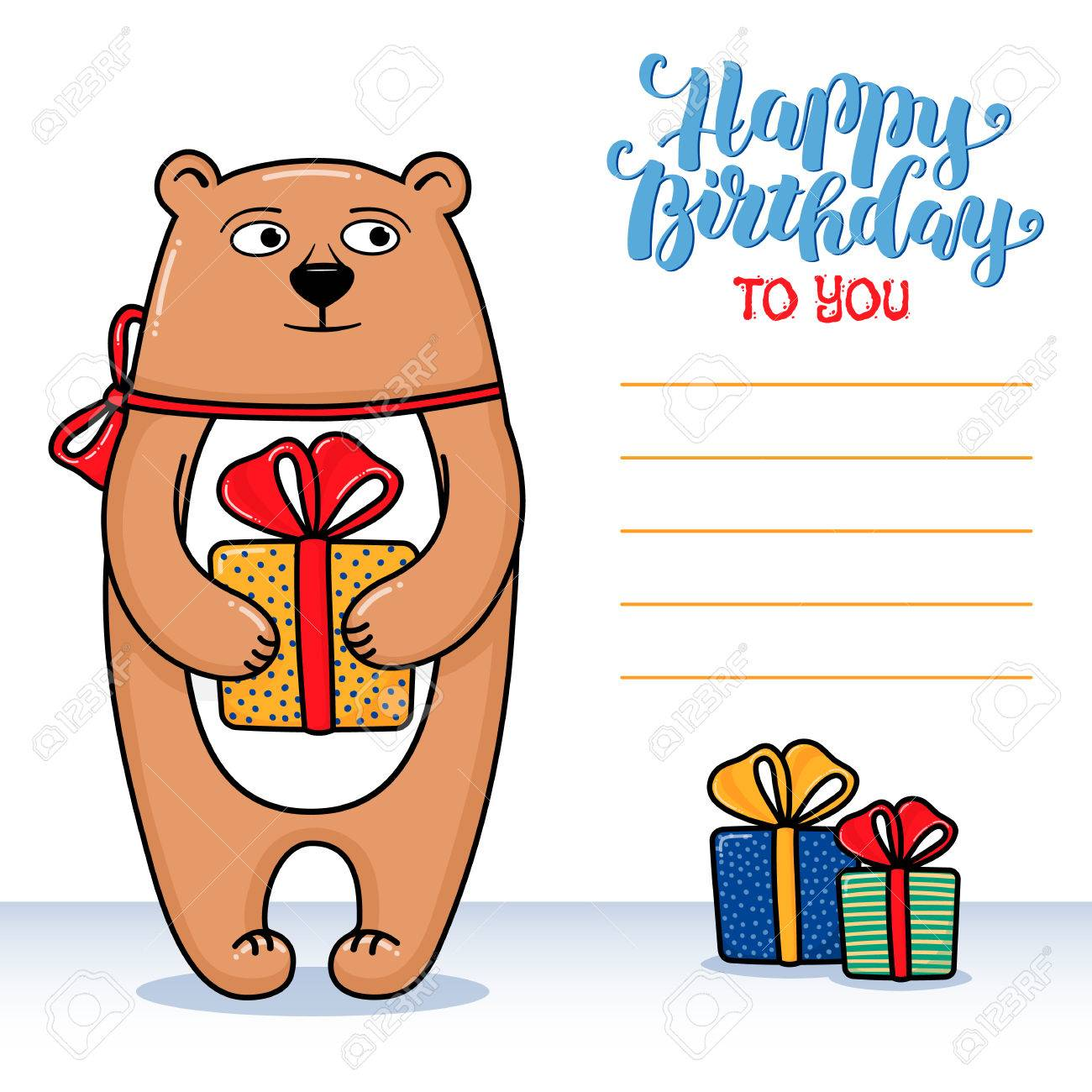 funny birthday card signatures ; 67652993-happy-birthday-greeting-card-with-bear-holding-a-gift-lettering-and-lines-for-congratulations-and-si
