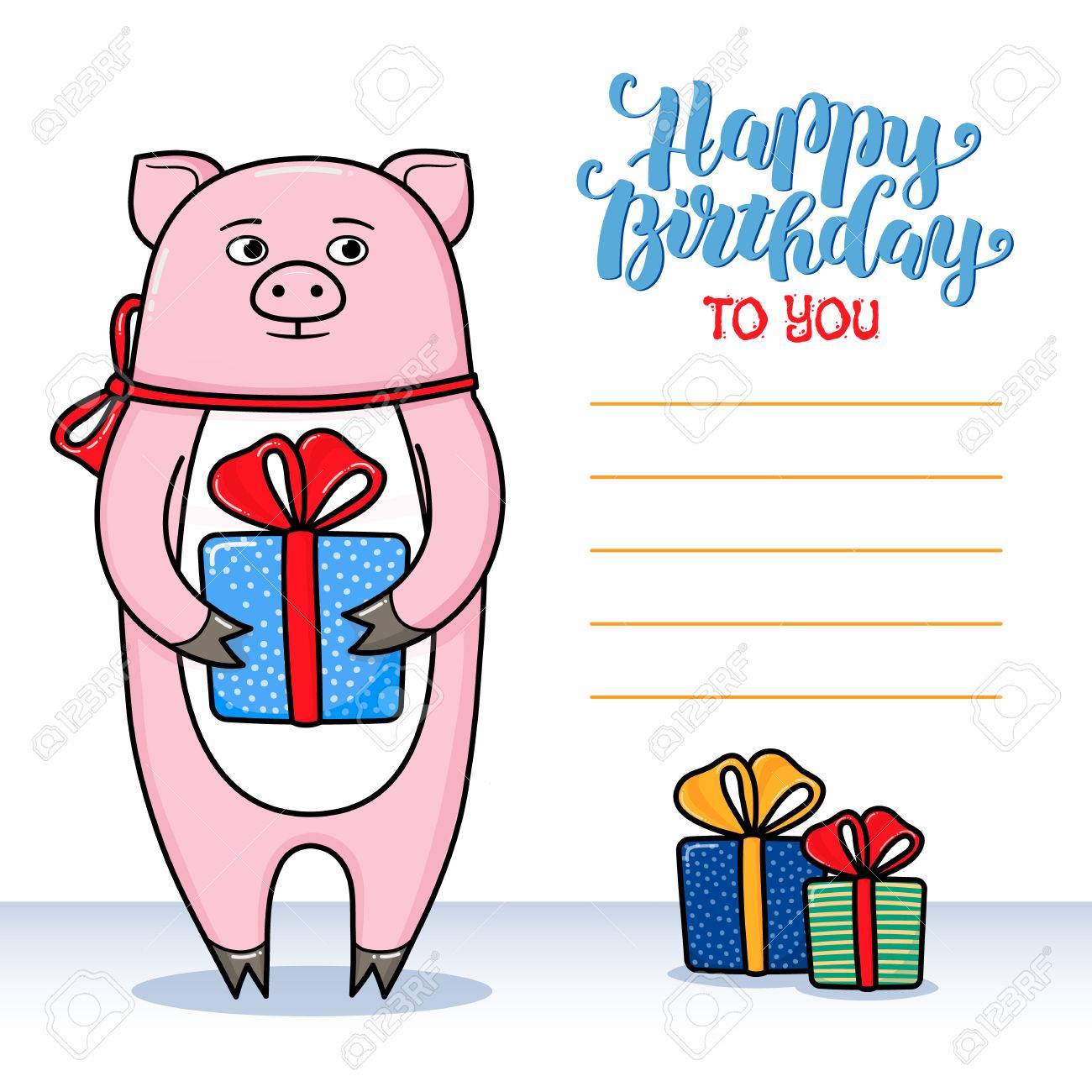 funny birthday card signatures ; 67655951-happy-birthday-greeting-card-with-pig-holding-a-gift-lettering-and-lines-for-congratulations-and-sig