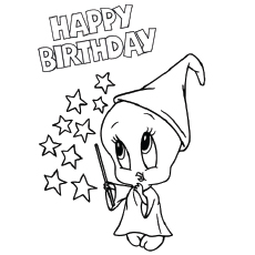 funny birthday drawings ; The-Tweety-Birthday-Page-coloring-page