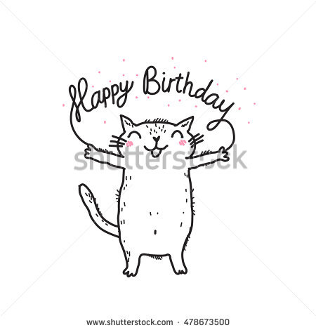 funny birthday drawings ; stock-vector-cute-funny-white-cat-happy-birthday-card-478673500