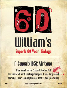 funny birthday wine labels ; label95a