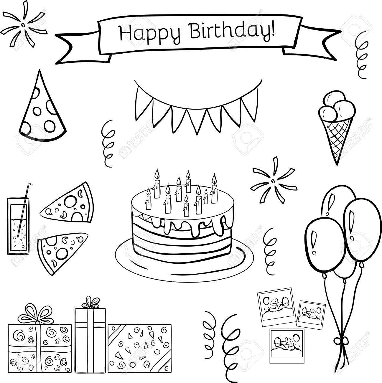 funny happy birthday drawings ; 54061805-happy-birthday-doodle-hand-drawn-icon-set-funny-and-cute-good-illustration-for-scrapbooking-sites-te