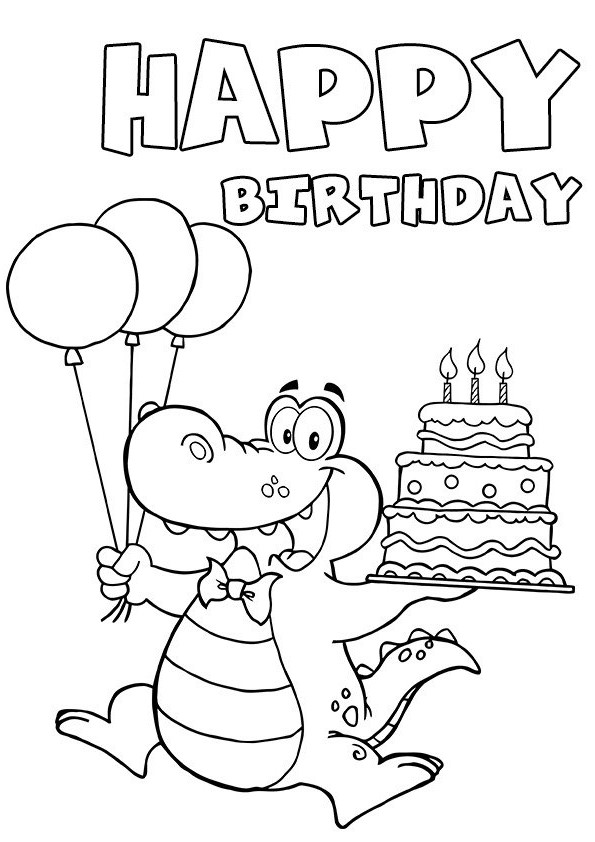funny happy birthday drawings ; black-and-white-birthday-clip-art-crocodile-print