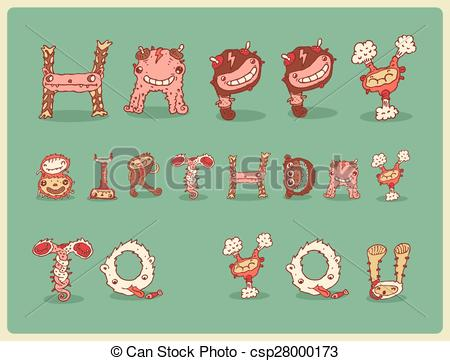 funny happy birthday drawings ; happy-birthday-card-postcard-freaky-image_csp28000173
