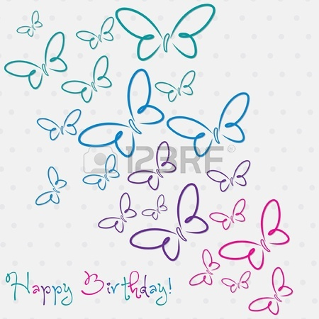 good birthday card drawings ; 19469504-multi-colored-hand-drawn-happy-birthday-butterfly-card-in-vector-format