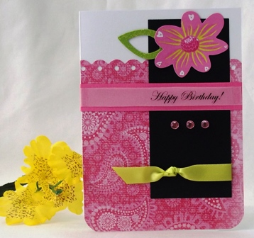 greeting cards design for birthday ; bday-pinkpaisley-greenbow-websm