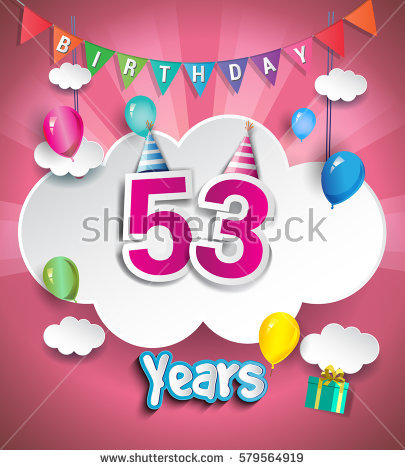 greeting cards for birthday design ; stock-vector--years-birthday-design-for-greeting-cards-and-poster-with-clouds-and-gift-box-balloons-using-579564919