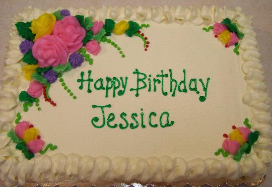 half sheet birthday cake ; Happy%2520B-day%2520Jessica%2520-%2520Floral
