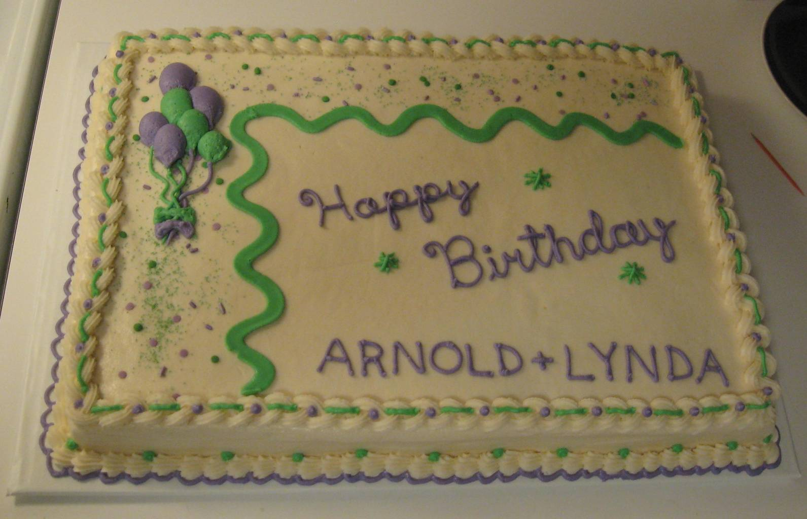 half sheet birthday cake ; purple--green-half-sheet1_sized