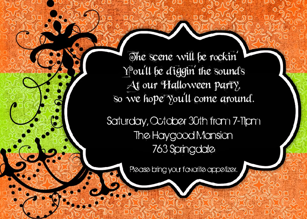halloween themed birthday party invitation wording ; Damask+Halloween+Invitation