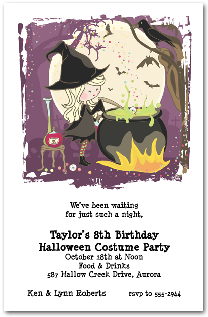 halloween themed birthday party invitation wording ; zCute-Witchs-Cauldron-Halloween-Invitation