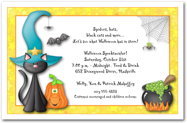 halloween themed birthday party invitation wording ; zTeal-Hat-Black-Cat-Halloween-Party-Invitation