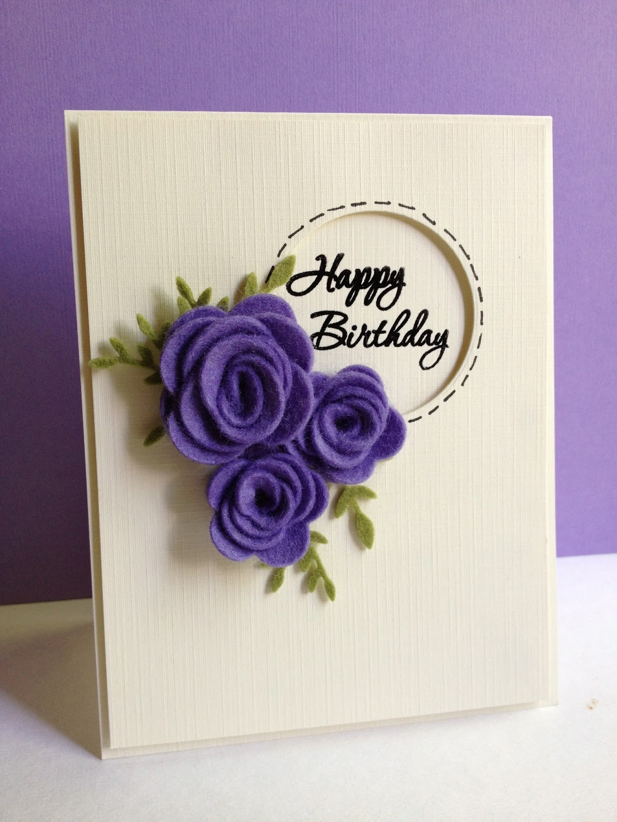 handmade birthday greeting card designs ; off-white-and-purple-handmade-Happy-Birthday-cards