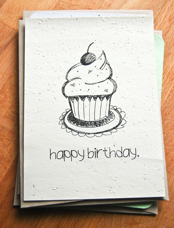 handmade drawing birthday cards ; easy-birthday-card-drawings-awesome-plantable-seed-paper-happy-birthday-card-hand-illustrated-cupcake-of-easy-birthday-card-drawings