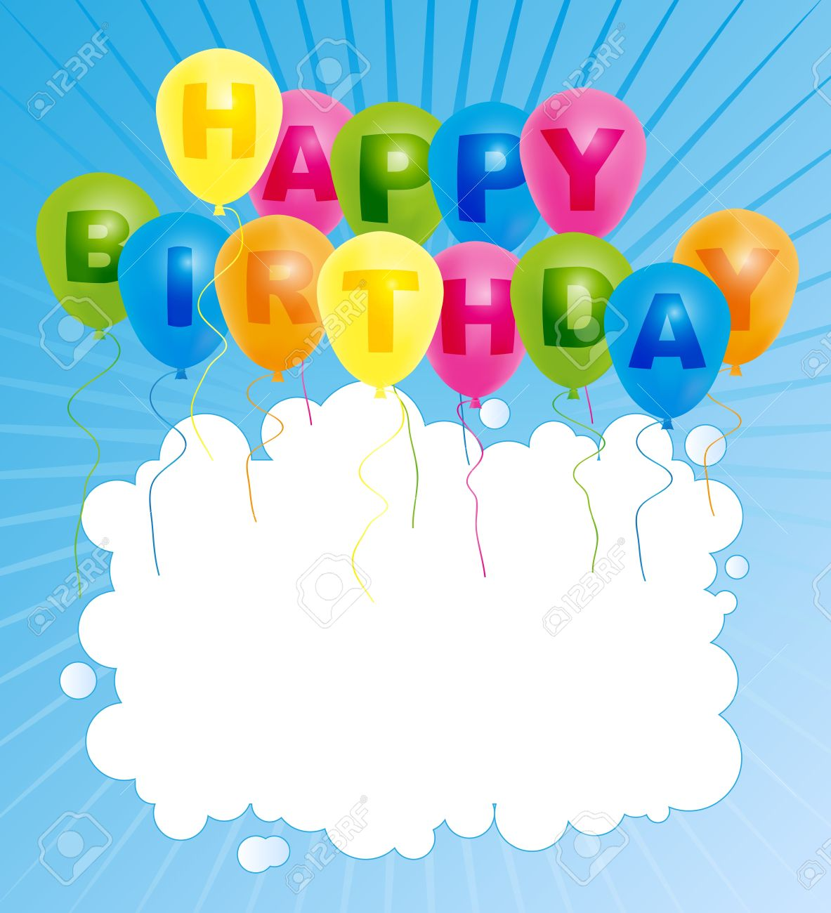 happy bday sign ; 17296558-happy-birthday-card-color-balloons-with-with-happy-birthday-sign