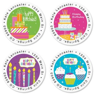 happy birthday address labels ; birthday-brights-round-address-labels-4-designs