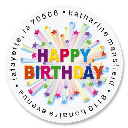 happy birthday address labels ; birthday-star-round-address-labels