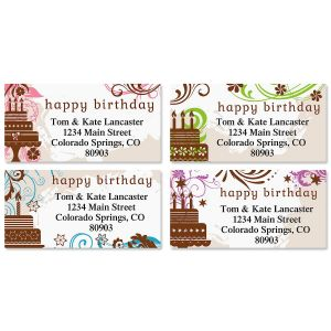 happy birthday address labels ; cake-silhouette-border-address-labels-4-designs